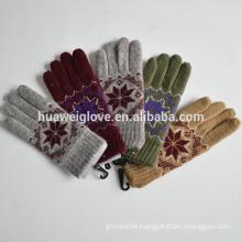Full Finger Winter 100% polyester Knitted nylon Gloves mitten