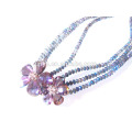 Multi Layered Flower Crystal Necklace Glass Beaded Necklace