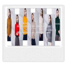 Pull à col roulé tricoté manches longues pull pur couleur pull femme