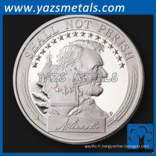 personnaliser une pièce de monnaie, un métal personnalisé USS Lincoln Silver proof challenge coin