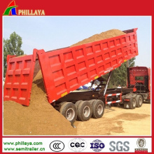 Sand-Kies-Transport-Kasten-Kipper-halb LKW-Kipper-Anhänger