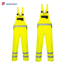 Hi Vis Waterproof Contrast Traffic Workwear,High Visibility Safety Work Overalls Front Zip with 6 Pockets Reflective