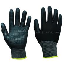 Polyester tricoté travail gants avec mousse Nitrile, parsemées sur Palm (N1560)