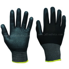 Polyester Knitted Working Gloves with Foam Nitrile, Dotted on Palm (N1560)