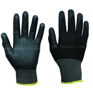 Полиэфир трикотажные рабочие перчатки с Нитриловая пена, разбросанных на ладони (N1560)