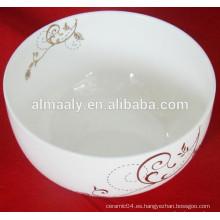 Cuenco de fideos de cerámica borde redondo con hermosa calcomanía