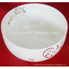 Cerâmica tigela noodle rodada borda com decalque bonito