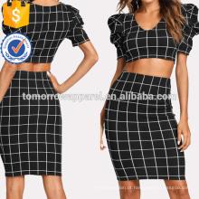 Puff Sleeve Grid Top e Pencil Skirt Fabricação Atacado Moda Feminina Vestuário (TA4020SS)