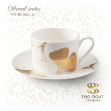 Japanese decal stoneware coffee cups with saucer