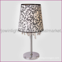 White With Black Pattern Fabric Table Lamp