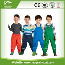 Children Rain Pants Reflective PU Leather Bib Pants