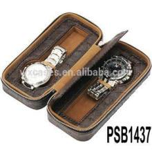 caja de reloj de cuero para 2 relojes de alta calidad de China fábrica
