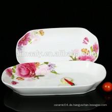 rechteckige Porzellan Fischplatte mit Abziehbild