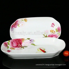 rectangular porcelain fish plate with decal