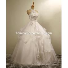 Las mujeres de color blanco vestido de novia vestido sexy con cuentas que fluye playa leace más el tamaño de sirena vestido de novia