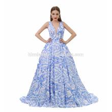 Vestido azul del vestido de bola del cuello en v profunda de la nueva flor azul de la manera