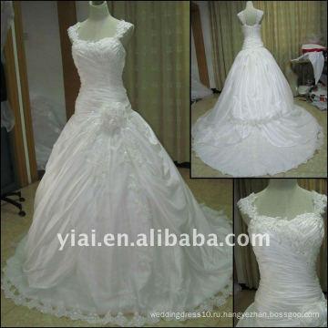 Падение JJ2516 доставка высокого качества Cap рукавом кружева свадебное платье 2011