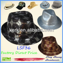 LSF36 Ningbo Lingshang Fashion Shining Sequins Cotton/Polyester fabric hat fedora