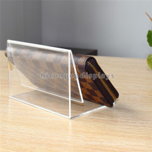 Fashion Retail Store Fixture Countertop Acrylic Advertising Clutch Bag Leather Lady'S Wallet Display