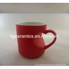 Heart Handle Color Change Mug Red