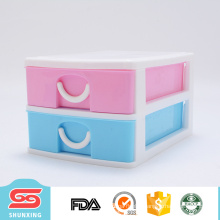 Plastic 2 layer desk cabinet organiser storage drawer box for office use