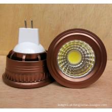 Novo dimmable 3W 5W 12V DC MR16 COB lâmpada LED Spotlight