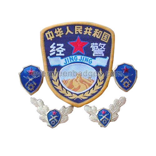 Chinese Police Blue Set Emblemas de metal e bordado