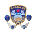 Chinese Police Blue Set Metal and Embroidery Badges