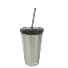 Edelstahl oder Kunststoff Becher mit Strohhalm
