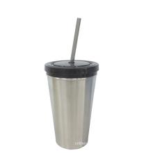 Из нержавеющей стали или пластика кружка с соломинкой