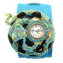 Punk exagerado de lujo de moda cuero Rhinestone relojes diseño serpiente para la señora WW46
