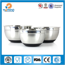 2014 hot sale stainless steel mixing bowl,salad bowl,fruit bowl with silicon bottom