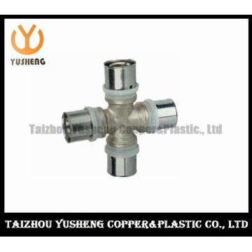 Encaixe de tubulação transversal fêmea da imprensa de bronze e de aço inoxidável forjada (YS3213)