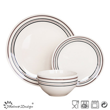 18PCS Ceramic Dinner Set with Hand Painted Simple Circles