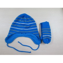 Fashion strip Knitted hat and gloves