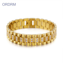 16mm Wide Stainless Steel Gold Mens Chain Bracelet