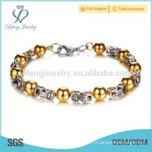 Novo bracelete de ouro 14k, pulseira de aço inoxidável, pulseira impermeável