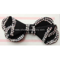 Black Fabric Flower Shoe Clips on Girls Flats Shoes with Hot-Fix Rhinestone Trimming