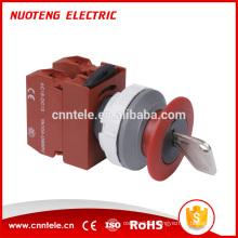 Bouton à clé de 40 mm, arrêt d'urgence, bouton-poussoir lumineux momentané, interrupteur de réinitialisation à bouton-poussoir