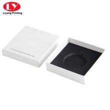Customized white elegant jewerly box with black foam