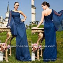 One Shoulder Bainha Andar Comprimento Beads Mãe Vestido de Noiva Eevening Gown