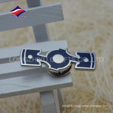 Épinglettes rectangulaires en émail dur en métal avec logo