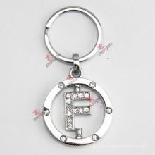 Drehender Buchstabe F Rhinestone-Metall Keychain