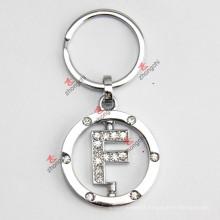 Rotating Letter F Rhinestone Metal Keychain