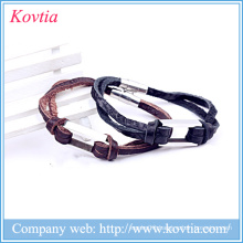China wholesale bracelet joker leather bracelet boys 316 titanium steel magnetic bracelet