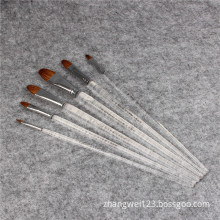 Transparent rod paint brush six brushes a set
