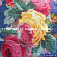 Tecido de linho de mistura de algodão de impressão para vestuário / cortina / estofos