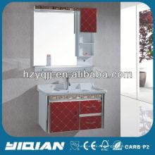 Rojo nuevo diseño montado en la pared PVC cuarto de baño del gabinete de tocador de baño