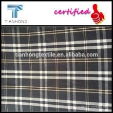Noir carreaux teints en fil tissu/chemise teints tissu/coton chemise à carreaux tissu sergé