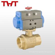 DN 25 2 voies pneumatique actionneur npt laiton mini robinet à bille